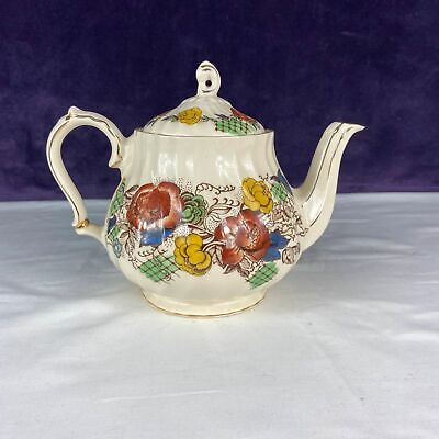 Vintage Rose Garden Sadler England Flowered Teapot w/Gold Trim #3605