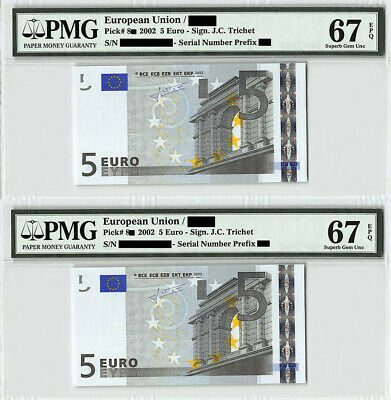 EUROPEAN UNION, NETHERLANDS 2002 SEQUENTIAL PAIR OF 5 EURO. PMG-67EPQ. P-8p.