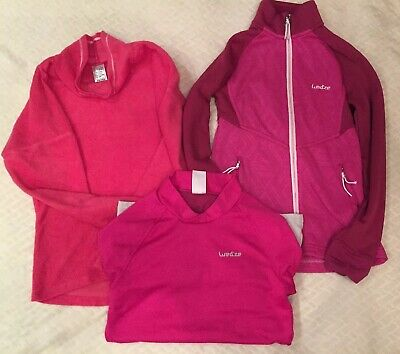 Girls Pink Fleece/Zip Midlayer/Freshwarm  Baselayer Top & Black Pants Ski Bundle