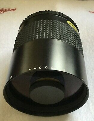 Makinon 500mm f8 reflex lens M42 mount with case and filters Pentax P42