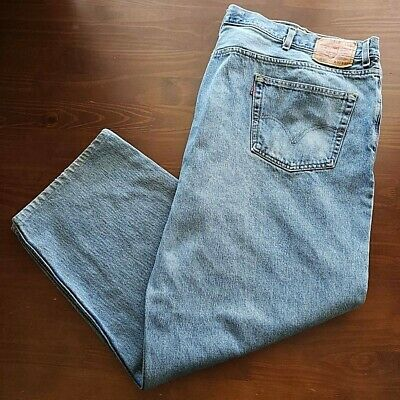 Levis Mens 550 Relaxed Classic Straight Jeans Blue Medium Wash 100% Cotton 52x32