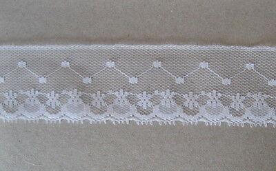 CRAFT-SEWING-LACE 30mm White Netting Design Lace (metre varieties available)