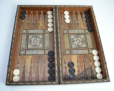 Vintage Marquetry Wooden Games Box Intricate Inlaid Backgammon Draughts Chess