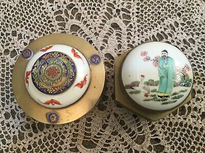 China Brass Boxes Enameled Medallions & Panels Intricate Porcelain/ Enameled Lid