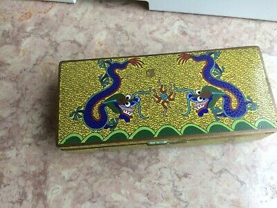 ANTIQUE CLOISONNE FOOTED SECTIONAL BOX  - CHINA in red   #2   DRAGONS - YELLOW