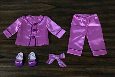 American Girl Doll Retired Historical Rebecca's Satin Pajamas w/Slippers + Bow