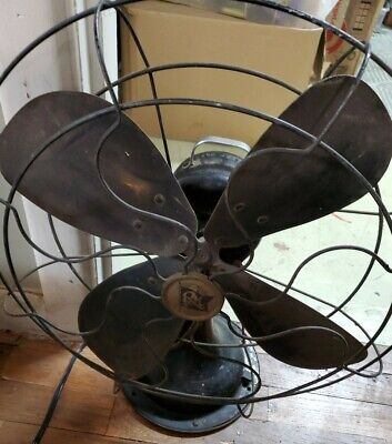 "Vtg Antique Robbins & Myers Fan 12"" Blades 3 speed oscillating Industrial cage"