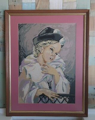 Vintage Completed & Framed Tapestry Picture - Female Harlequin Child Pink