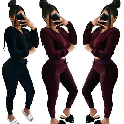 Women Long Sleeves Hooded Zipper Velvet Casual Club Party Bodycon Pants Set 2pc