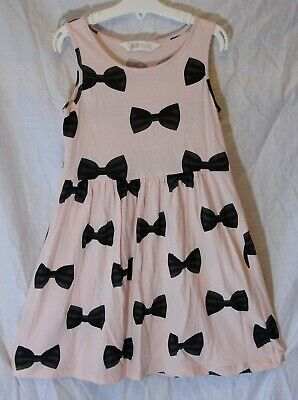 Girls H&M Pale Pink Black Bow Tie Pattern Sleeveless Summer Dress Age 7-8 Years