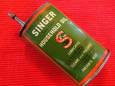 Antique Vintage Singer Household Oil Sewing Machine Oiler Lubricant Tin Can