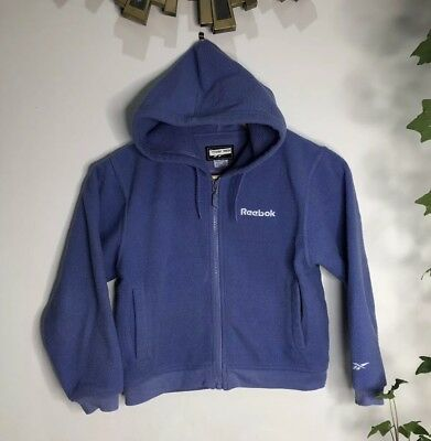 Reebok Track Jacket Hoodie Fleece Purple 7-8 Years Old Zip Up