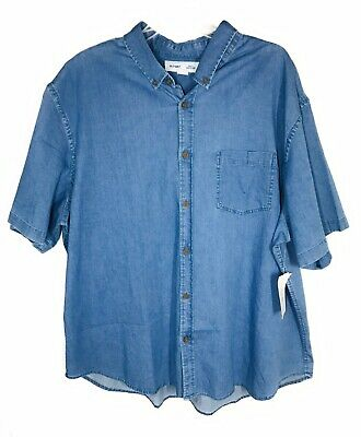 Old Navy Men's Classic Fit Sz 3XL Short Sleeve Button  Up Blue Collared Shirt