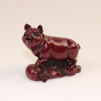 Vintage Chinese Pig Red Resin Feng Shui Carved Wood Mini Figurine Zodiac
