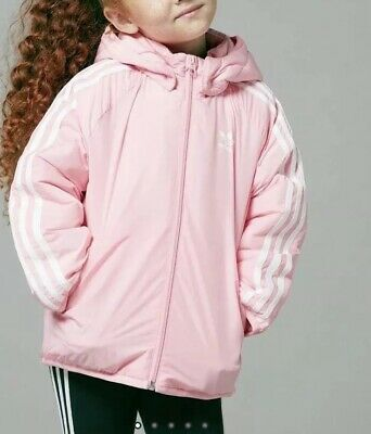 adidas originals trefoil Girls Padded hoodie Jacket Size 7-8 Year@@