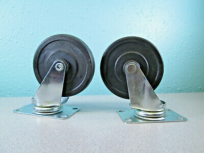 """2 - 4"""" Ballbearing Swivel Casters Pair With 4 Bolt Plate Hardware Light Duty"""