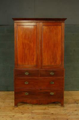 Antique 19th Century Mahogany Linen Press Wardrobe