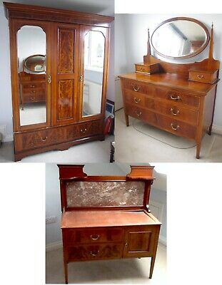 Beautiful Edwardian Dressing Table Wardrobe Wash Stand Mahogany Inlaid
