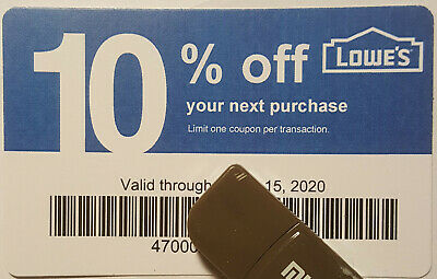 Twenty (20) LOWES Coupons 10% OFF At Competitors ONLY NOT AtLowes Exp Nov15 2020