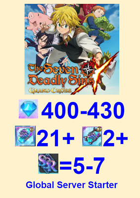 [EN] 7DS Seven Deadly Sins Grand Cross Starter account Meliodas+250Gems+11-15SSR