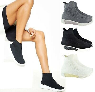 New Womens Ladies Ankle High Top Knit Bail Running Sock Sneaker Trainers Shoes
