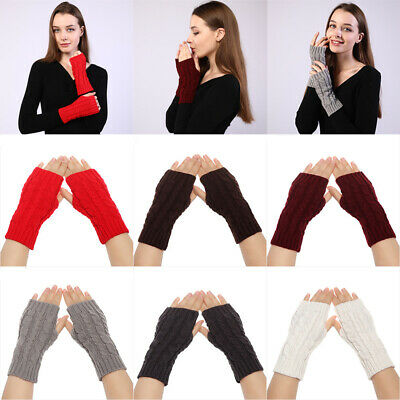 Warm Winter Soft Candy Color Fingerless  Mittens Knitted Gloves Arm Warmers