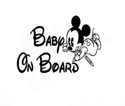 Baby On Board Micky Mouse 2 Child Window Bumper Car Sign Window Sticker