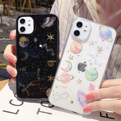 Glitter Clear Space Planet Star Cover Case For iPhone 11 Pro Max XS XR 6s 8 Plus