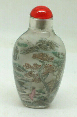 Vintage Japanese reverse painted glass perfume bottle mountain scene Red top