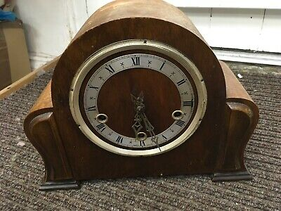 Vintage Wooden Mantle Clock For Spares And Repairs Damaged And Not Working