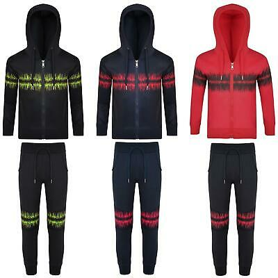 Kids Tracksuit Cardio Print Hooded Jumper Top Boys Girls Jogging Bottoms 3-14 Y