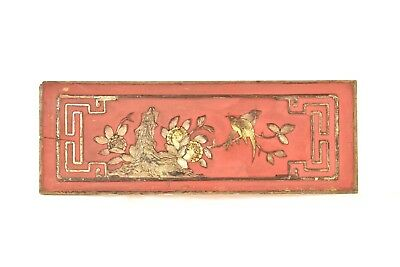 Antique Chinese Red & Gold  Wooden Carving / Carved Panel, 19th c