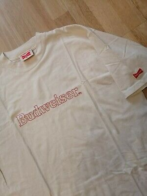 Vintage 90s Budweiser Stitched Cream White T Shirt - Fits Large - VGC