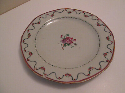 Old Chinese Export 18th Century Porcelain Famille Rose Plate 7-1/2""