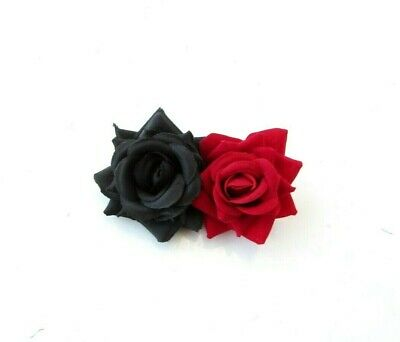 Double Black and Red Rose Flower Hair Clip Floral Fascinator Rockabilly 50s 0063