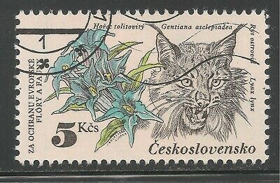 Czechoslovakia #2460 (A872) VF USED - 1983 5k Gentians Lynx - Protected Species
