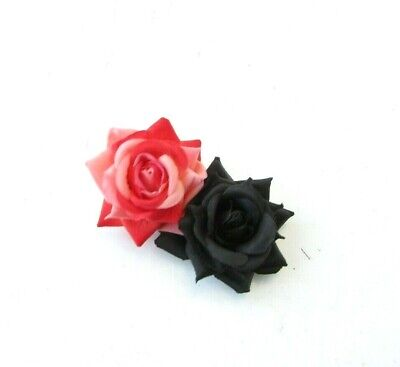 Double Black & Coral Peach Rose Flower Hair Clip Floral Fascinator 1950s 0069
