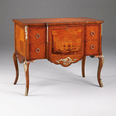 French Style Chest with Wood Inlay and Bronze Mounts