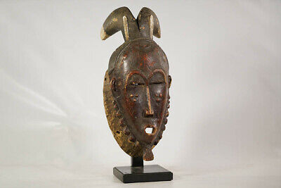 "Baule or Yaure Horned Mask with Stand 18"" - Ivory Coast - African Art"