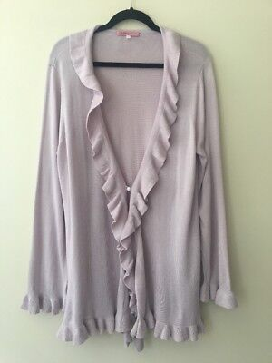 Rebecca Taylor Ruffle Front Open Cardigan Sweater Top Size 2X Spring