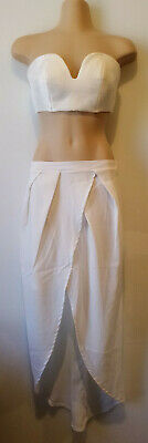 CAMEO White bra top and skirt set. Size XS (6)