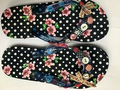 Flip Flops By Accessorize Girls Blue Floral Size Uk 1-2   H988A