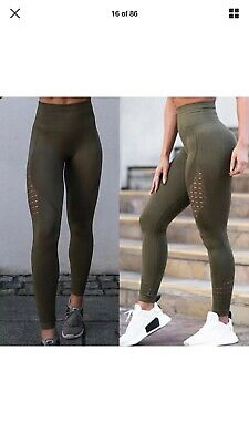 Ladies Leggings Army Green Hollow Out Mesh Yoga Gym UK 6-8 High Waist Butt Lift