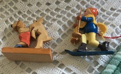 Vtg Miniature Hand Carved Wooden Figurines Boy Skiing, Boy W/ Goat- Lot Germany