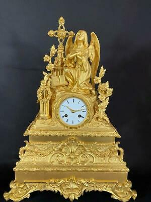 Excellent Antique French Gilt Bronze Figural mantel Clock ca 1840