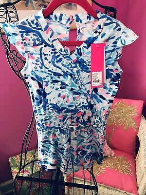 Lilly Pulitzer NWT Girls Romee Romper Breakwater Tint Party Wave $58