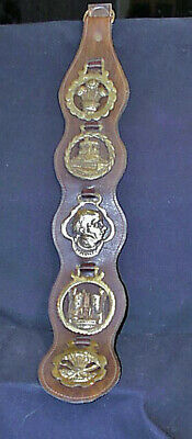 Outstanding Vintage Leather Strap With 5 British Horse Brass Medallions