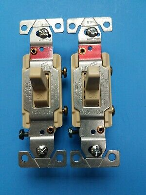Lot of two Toggle Light Switch 20a Ivory, CS120V,  Cooper Wiring Devices Inc
