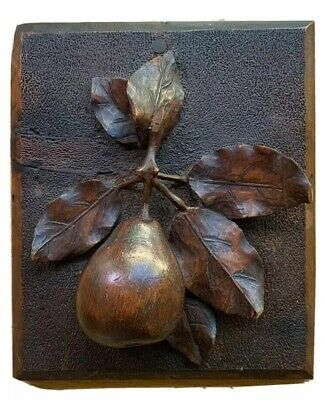 French German Antique 19th Century Victorian Wood Carving Pear Wall Plaque
