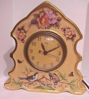 Vintage Antique Porcelain  Electric Shelf Clock Hand Painted Birds & Flowers